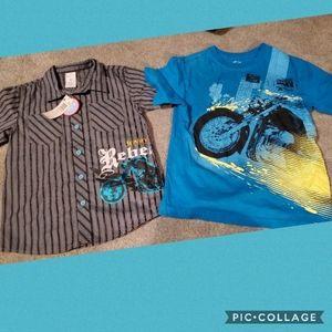 Motorcycle dress shirt new,& tee 5/6